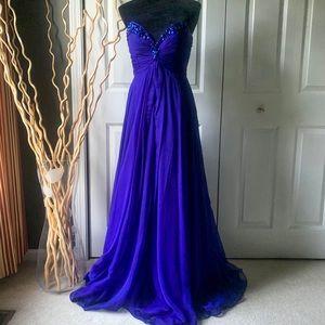 Sherri Hill Deep-V Strapless Purple Satin Gown